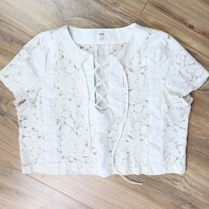 Lucca white short sleeve floral lace crop top